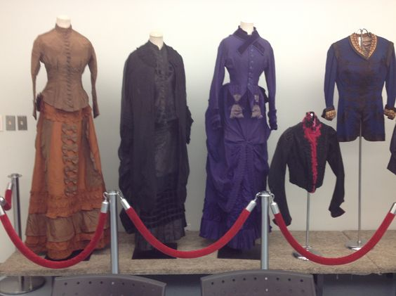 Rust moire silk, black crepe cape and mourning dress, 3-piece purple dress.