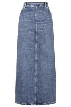 MOTO 'Awkward Length' Denim Skirt