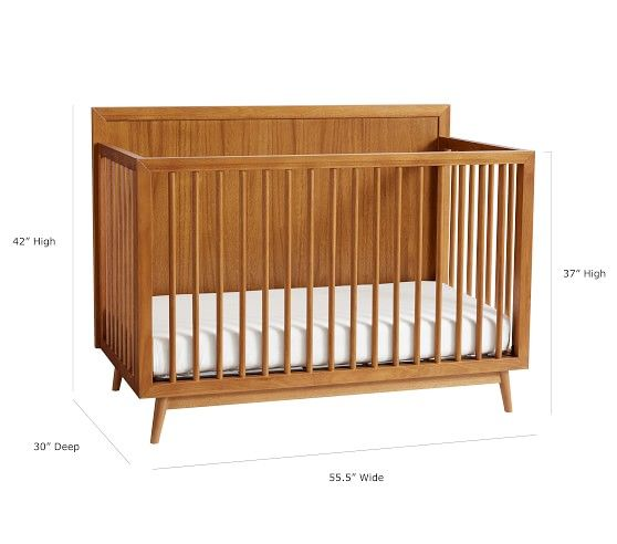 West Elm X Pbk Mid Century 4 In 1 Convertible Crib Convertible Crib Cribs Platform Mattress