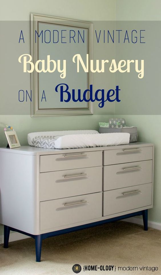 Create a beautiful modern vintage baby nursery on a budget using thrifted finds and handmade elements | {Home-ology} modern vintage
