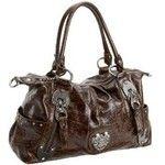 KATHY Van Zeeland Heart Beat Satchel featuring polyvore fashion bags handbags kathy van zeeland purses brown crocodile handbag kathy van zeeland handbags satchel purse heart handbag