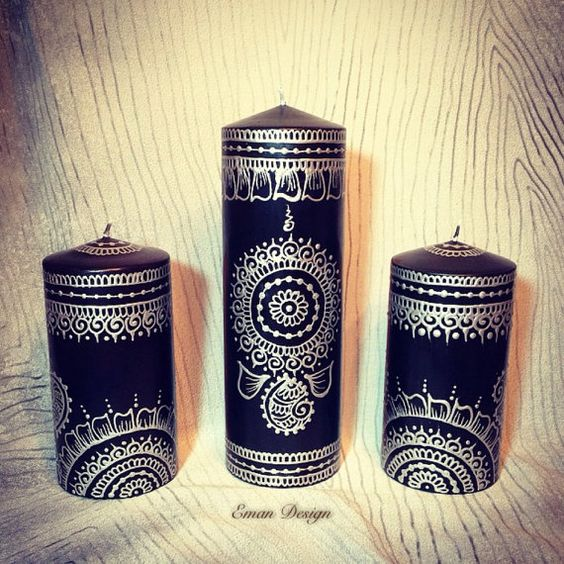 Set of 3 Black and Silver Henna Candles Hand Painted