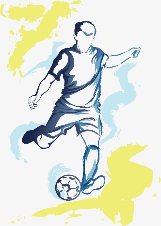 Vector Football Soccer Player Running Silhouette With Ball Running Silhouette Soccer Art Soccer Images