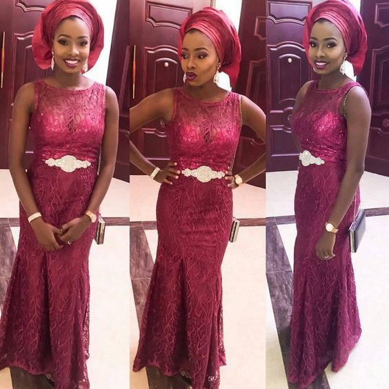 wine lace gown with gele: