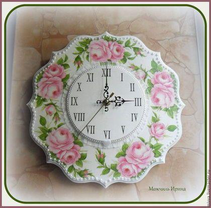 """Часы для дома ручной работы. Ярмарка Мастеров - ручная работа. Купить Часы настенные """"Розовой настроение"""". Handmade. Белый, подарок"""