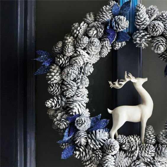 Snow Dusted Small Pinecone Wreath w/Blue Accents & Dear!