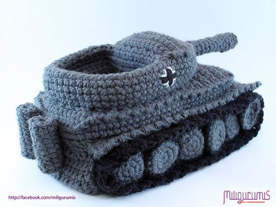Tiger 1 Tank   Panzer Crocheted Slippers Pattern by miligurumis, $6.99!!!