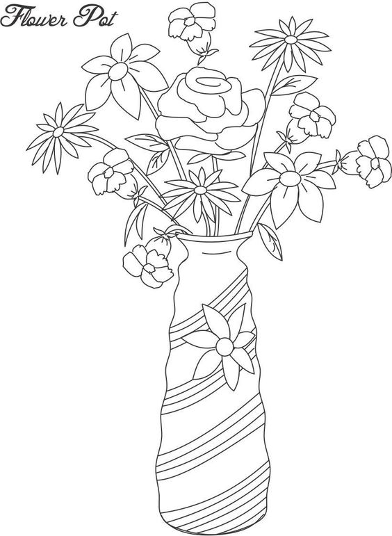 Flower Page Printable Coloring Sheets Flower Pot Pots Color Drawing