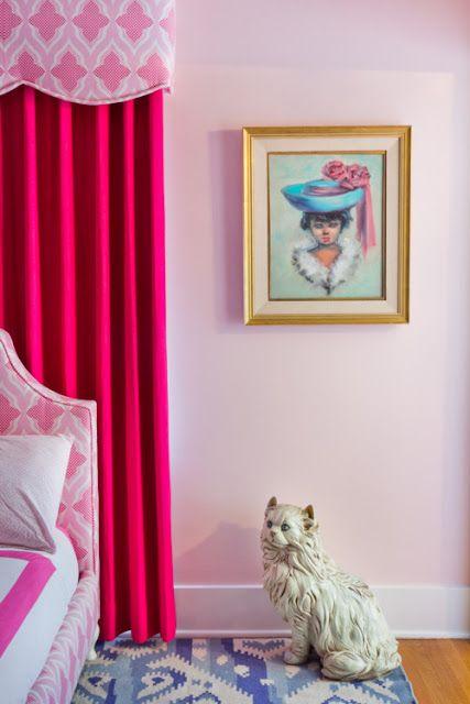 pink kids room , Christopher Farr fabric, ceramic cat