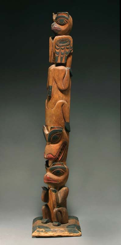 Anthropos Gallery Tsimshian Model Totem Pole With Owl