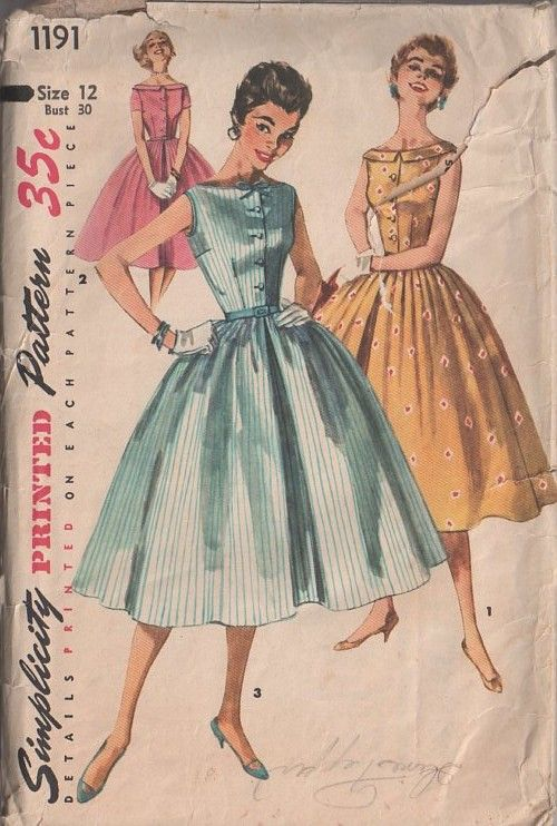 Simplicity 1191 Vintage 50's Sewing Pattern STELLAR Rockabilly Grace Kelly Full Pleated Skirt Bateau Neck Shirtwaist Cocktail Party Formal Dress #MOMSPatterns