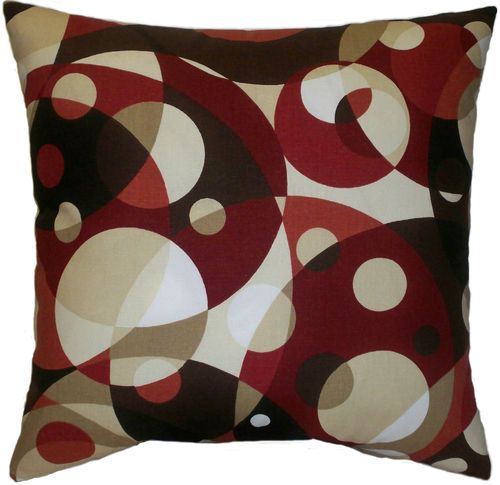 Modern Red Tan Brown Abstract Decorative Throw Pillow Toss Cushion 18x18 eBay Living Room ...