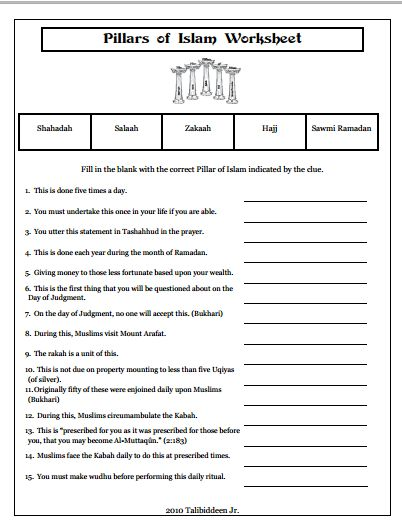 Pillars of Islam Worksheet | Islamic Studies - Pillars | Pinterest ...