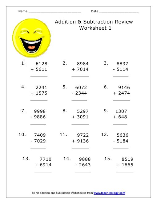 addition and subtraction review sheet version 1 addition. Black Bedroom Furniture Sets. Home Design Ideas