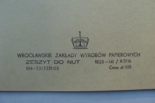 Prl Stary Nieuzywany Zeszyt Do Nut Wroclaw 1973 7537260273 Oficjalne Archiwum Allegro