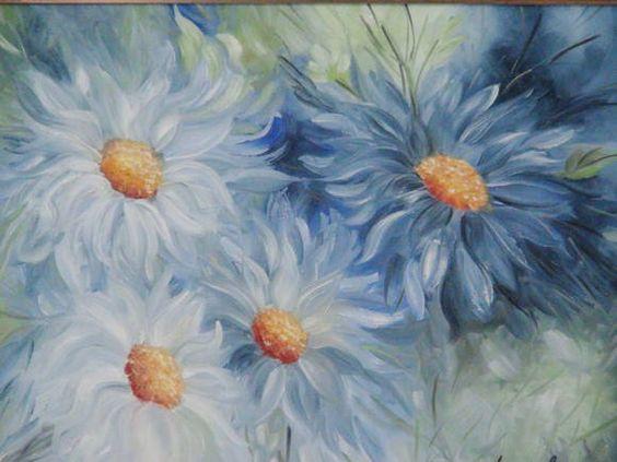 Quadro � �leo - Flores Azuis l