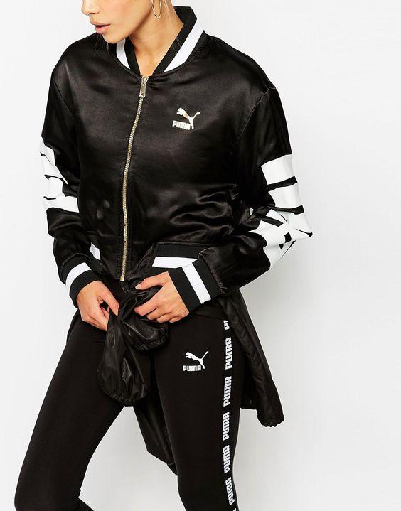 Image 3 of Puma Monochrome Logo Bomber Jacket | Athleisure