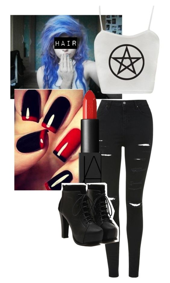 """EMO#5"" by bandsaremylife09 ❤ liked on Polyvore featuring Topshop and NARS Cosmetics"