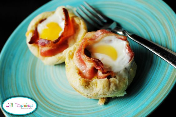 breakfast in muffin tins.  made with veggie bacon, perfect for the nonpancake eater.