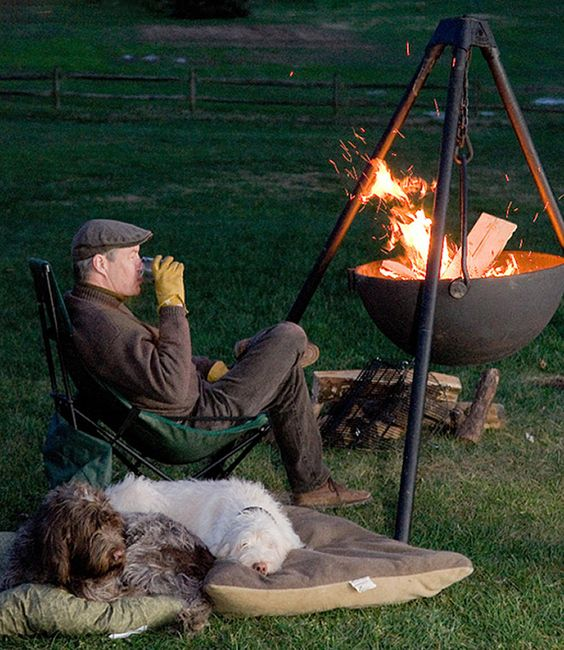 Fire pits metals and cooking on pinterest for Hanging fire bowl
