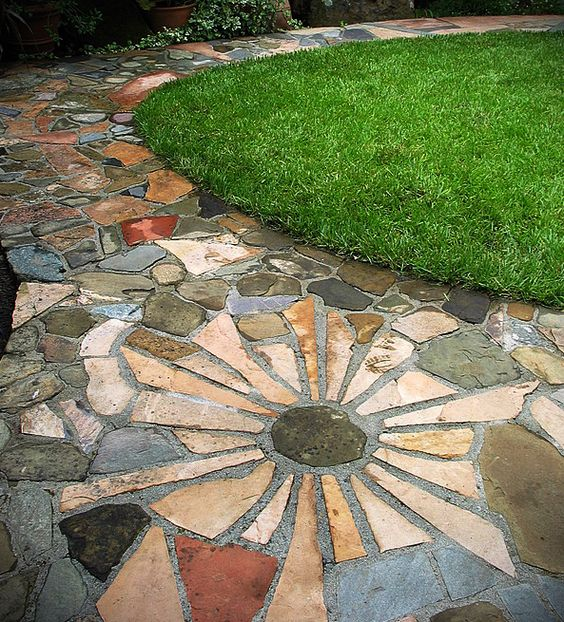 Stone Patio With Star Pattern Patios Pinterest Patio