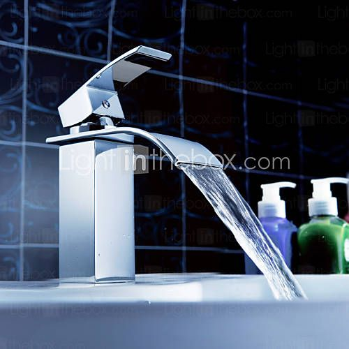 Torneira de Pia de Banheiro Sprinkle® (Acabamento Cromado, Cascata) - BRL R$ 133,19