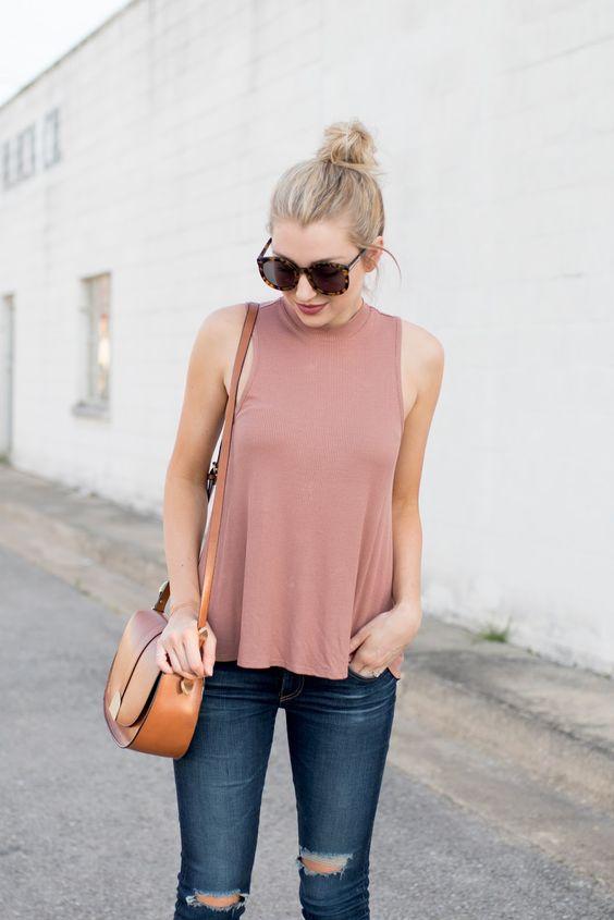 Pink high-neck tank top