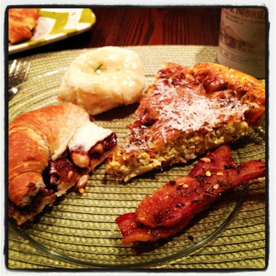 Brunch -  Frittata, candied rosemary bacon, croissant w nutella & banana