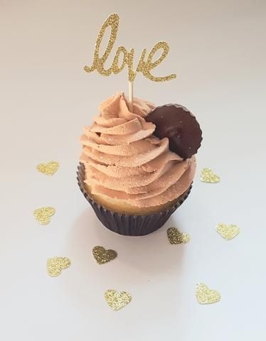 Gold Glitter Cupcake Toppers - Love