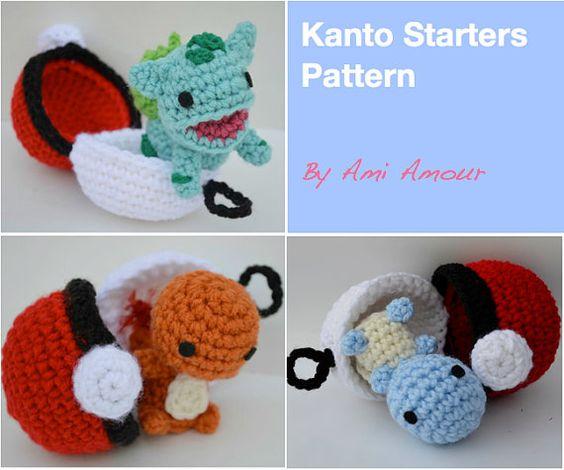 Tutorial Amigurumi Debutant : Starters Kanto Crochet motif ensemble Amigurumi Pokemon ...
