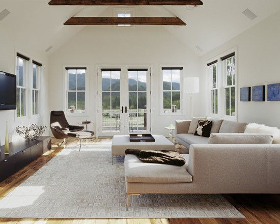 Big, Open Light Living Room With Good Light, Rustic Ceiling Beams, Natural  Floors, Minimal Accessories. Clean And Comfortable Looking.