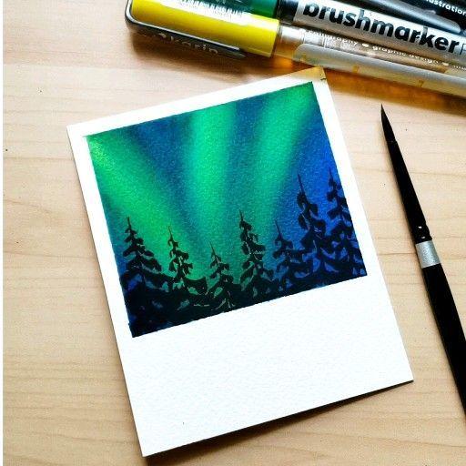 Watercolor Northern Lights Watercolorart Sanat Ogreticiler