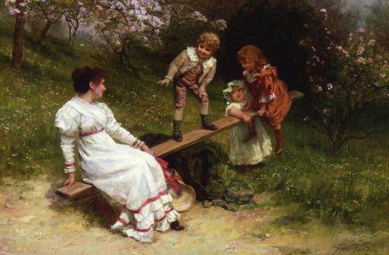 "See Saw- by Frederick Morgan 12 x 8"" Post-Impressionism *DISCOUNTED ITEM* LTD #PostImpressionism"