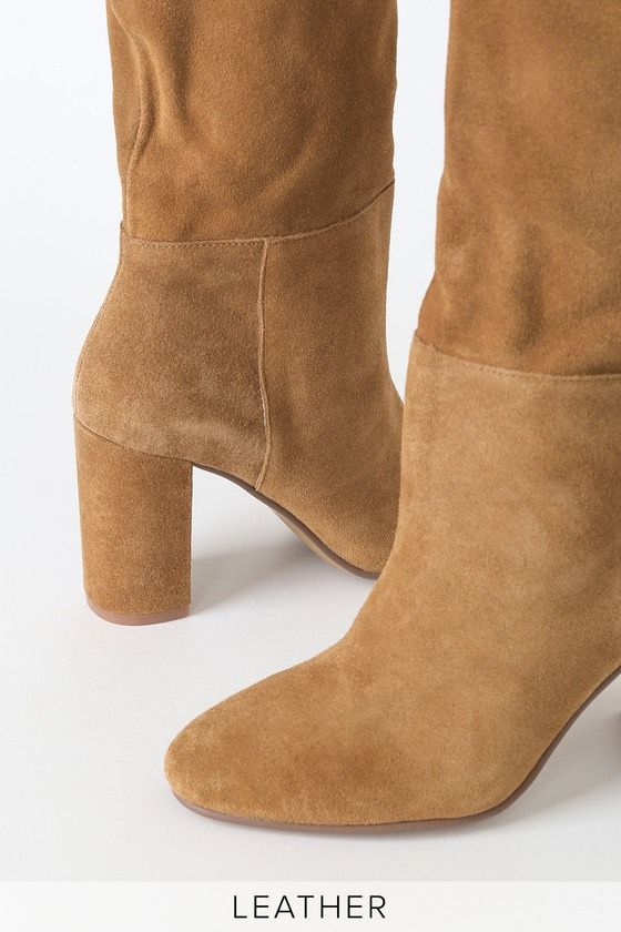 Keep Up Honey Brown Suede Leather Mid Calf High Heel Boots In 2020