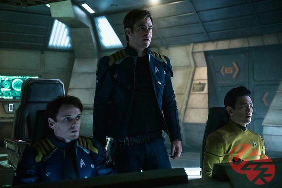 Star Trek Beyond actors Anton Yelchin, Chris Pine, and Jon Cho. Chekov, Kirk, and Sulu
