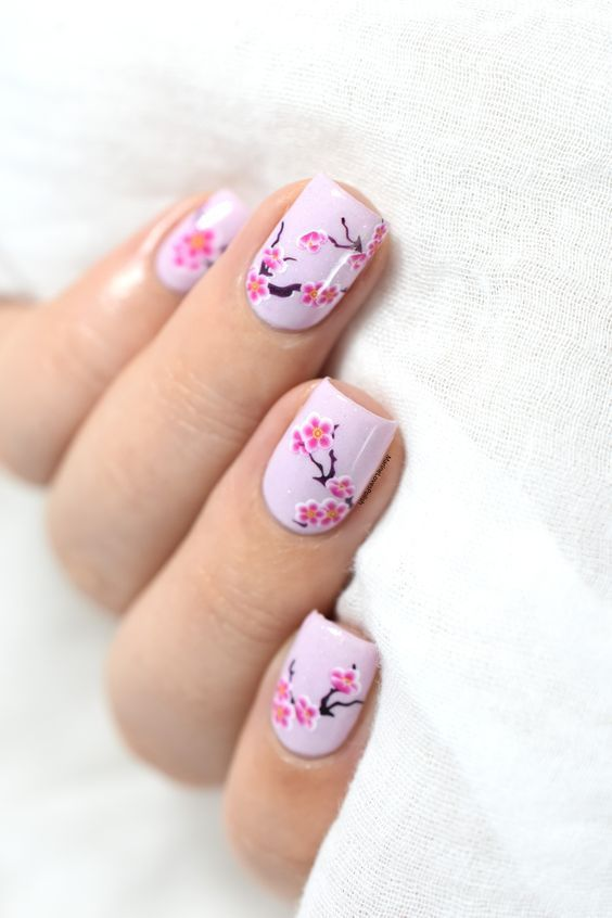 10 Top Spring Nail Art Ideas Cherry Blossoms Get A Most Attractive In This Spring Cherry Blossom Nails Cherry Blossom Nails Art Cute Spring Nails