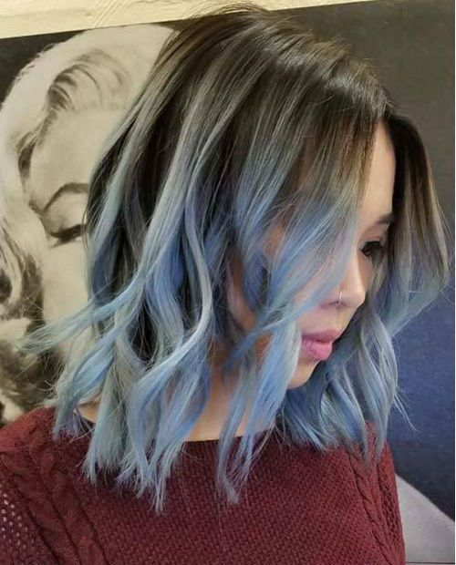 Amazing Blue Dyed Shoulder Length Shaggy Hairstyles For Girls And Women Messy Hairstyle Hair Color Asian Hair Styles Cute Hair Colors