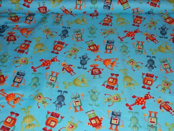 Wunderschöner hellblauer Stoff mit Roboter / Alien Motiv.    Dieser Stoff ist geeignet z. B. für Vorhänge, Bettwäsche, Kissen, Schürzen, Taschen, Krab