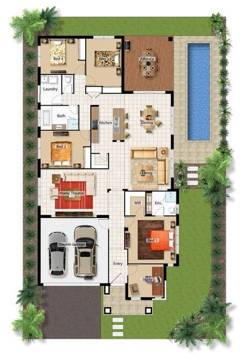 Denah Rumah 4 Kamar : denah, rumah, kamar, Denah, Rumah, Sederhana, Kamar, Tidur, Rumah,, House, Blueprints,, Indah