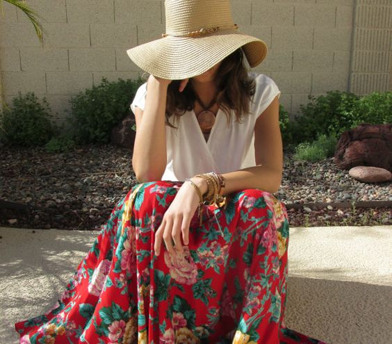 Vintage 1980's-90's floral maxi skirt/lipstick red/flowy full length skirt on Etsy, $52.78 AUD