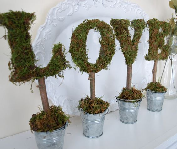 Topiaries - moss covered LOVE letters!  So glad I have extra moss left over from my last project!