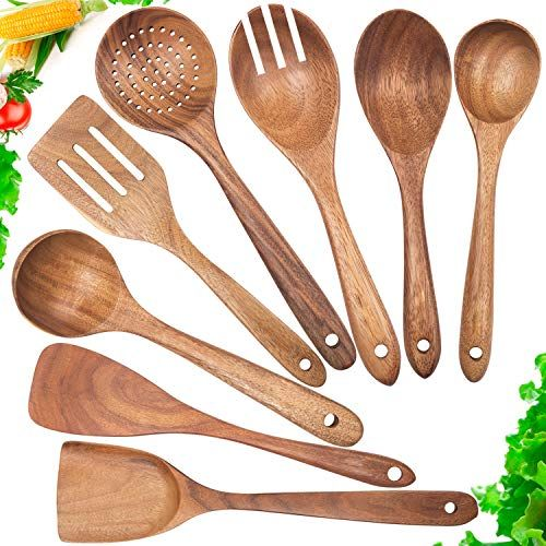 Wooden Spoons For Cooking Nonstick Kitchen Utensil Set Wooden Spoons Cooking Utensil Set In 2020 Wooden Cooking Utensils Wood Cooking Utensils Bamboo Cooking Utensils