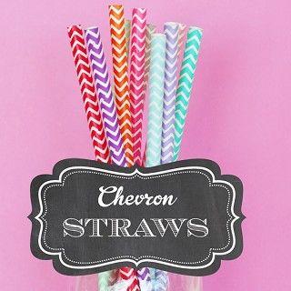 Chevron Paper Straws (Set of 25) 16 Color Choices