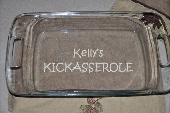 Pyrex Personalized Etched Casserole Dish by WulfsExpressions, $29.99