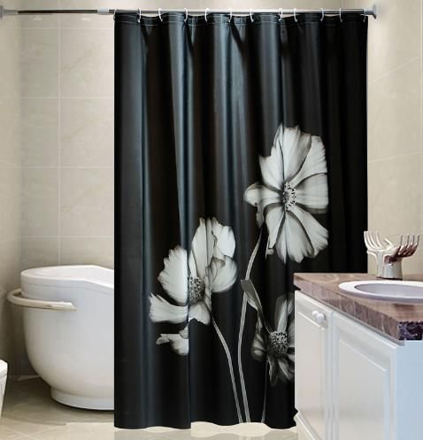 Black Cool Shower Curtains With Beautiful White Flower Cool