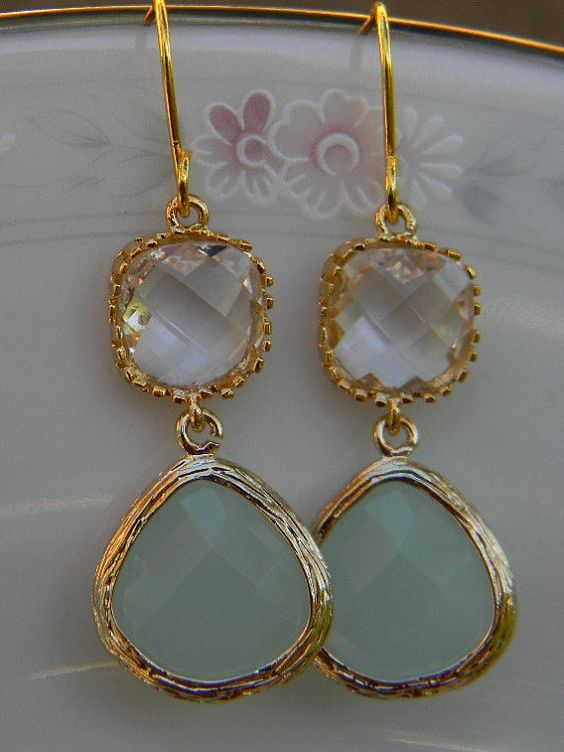 Clear Aqua MInt Earrings in GoldBrideBridalWedding by Greenperidot, $26.50
