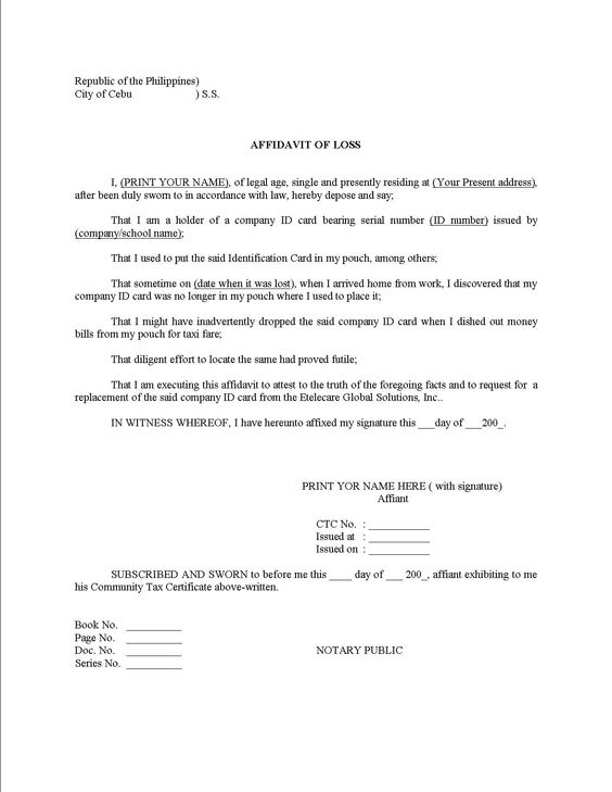 Doc400518 Samples of Affidavit Sample Affidavit Free Sworn – Sample Affidavit Format