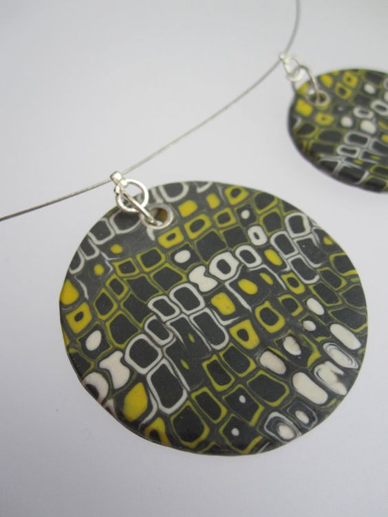 Polymer Clay Necklace Grey white and yellow by ClareBashamDesigns, £25.00