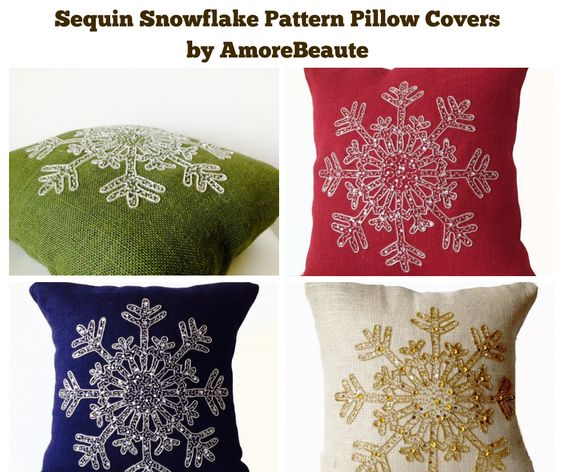 Sequin Snowflake Pattern Pillow Covers by AmoreBeaute