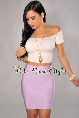 Lavender Elastic Mini Skirt.